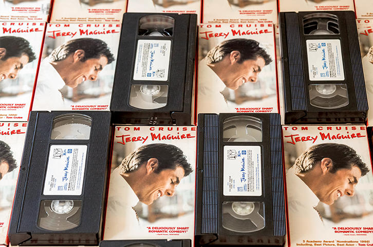 Lots of Jerry Maguire VHS tapes